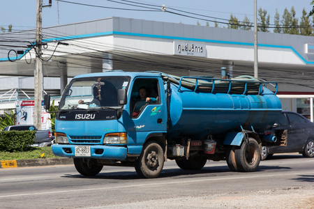 Chiangmai, Thailand - November 5 2018: Private of Sewage Tank truck. Photo at road no.121 about 8 km from downtown Chiangmai, thailand.