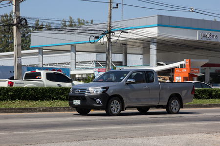 Chiangmai, Thailand - November 5 2018: Private Pickup Truck Car Toyota Hilux. On road no.1001, 8 km from Chiangmai city. Editorial
