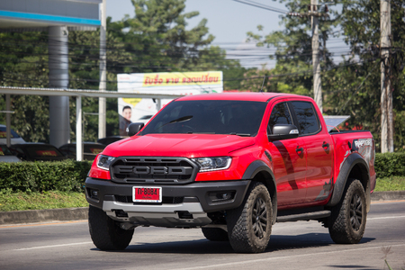 Chiangmai, Thailand - November 6 2018: Private Pickup car, Ford Ranger Raptor. On road no.1001, 8 km from Chiangmai city.