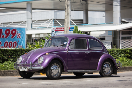 Chiangmai, Thailand - October 25 2018: Vintage Private Car, Volkswagen beetle. Photo at road no.1001 about 8 km from downtown Chiangmai, thailand.