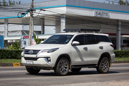 Chiangmai, Thailand - November 8 2018: Private  Toyota Fortuner Suv Car. On road no.1001 8 km from Chiangmai city. Editorial