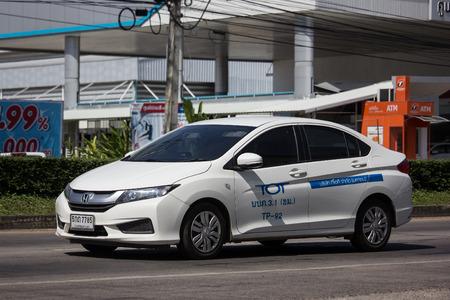 Chiangmai, Thailand - November 8 2018: Honda City of TOT Company. Photo at road no.121 about 8 km from downtown Chiangmai, thailand.