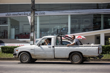 Chiangmai, Thailand - November 8 2018: Private old Pickup car, Toyota Hilux Mighty X. On road no.1001, 8 km from Chiangmai city.