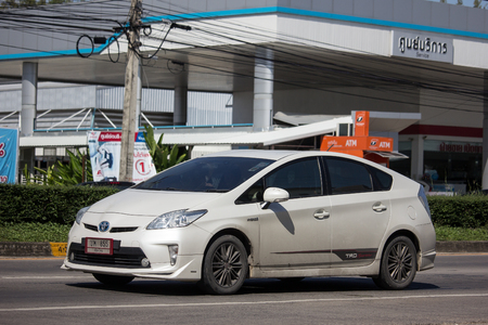 Chiangmai, Thailand - November 15 2018: Private car Toyota Prius Hybrid System. On road no.1001 8 km from Chiangmai Business Area.