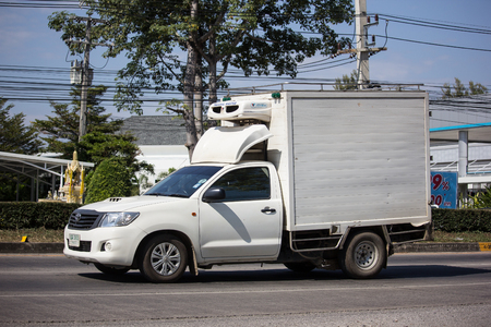 CHIANG MAI, THAILAND -DECEMBER 12 2017: Private Toyota Hilux Vigo  Pickup Truck with Container.  On road no.1001 8 km from Chiangmai city.