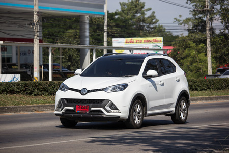 Chiangmai, Thailand - November 26 2018: Private Suv Car MG GS. Product from British automotive. On road no.1001, 8 km from Chiangmai city.