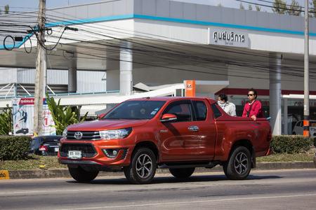 Chiangmai, Thailand - November 26 2018: Private Pickup Truck Car Toyota Hilux Revo. On road no.1001, 8 km from Chiangmai city.