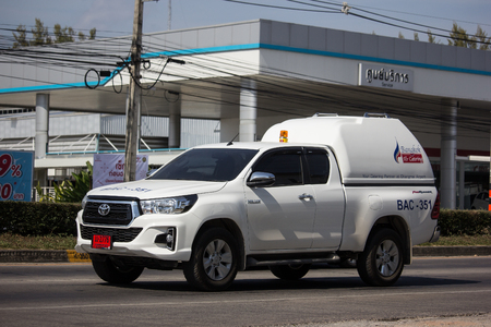 Chiangmai, Thailand - December 2 2018: Toyota Hilux Revo  Rocco of Bangkok Airway. On road no.1001, 8 km from Chiangmai city.