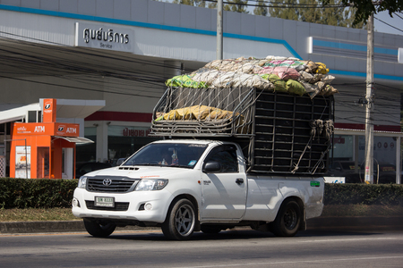 Chiangmai, Thailand - December 2 2018: Private Toyota Hilux Pickup Truck.  On road no.1001 8 km from Chiangmai city. Editorial