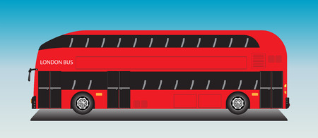 London Bus Vector on blue sky background