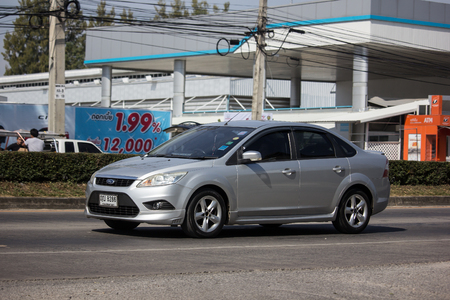 Chiangmai, Thailand - December 3 2018: Private car, Ford Focus. Photo at road no 121 about 8 km from downtown Chiangmai, thailand.