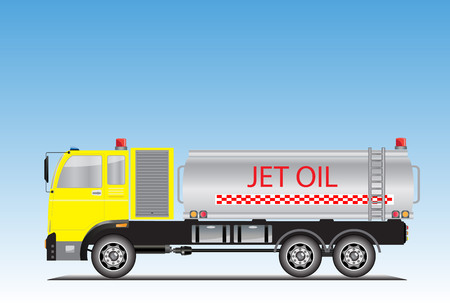 Jet oil truck for ground airport service vector