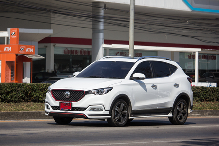 Chiangmai, Thailand - December 3 2018:  Private Suv Car MG ZS. Product from British automotive. On road no.1001, 8 km from Chiangmai city.