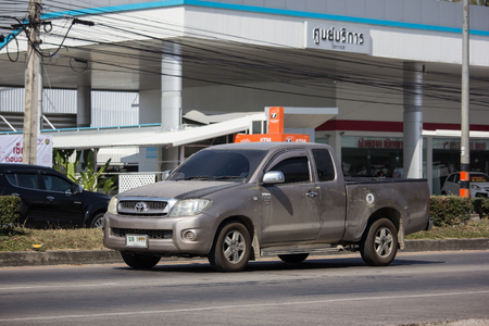 Chiangmai, Thailand - December 3 2018: Private Pickup Truck Car, Toyota Hilux Pick up Car. On road no.1001, 8 km from Chiangmai city.