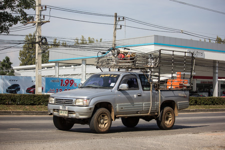 Chiangmai, Thailand - December 3 2018: Private Toyota Hilux Tiger Pickup Truck.  On road no.1001 8 km from Chiangmai city.