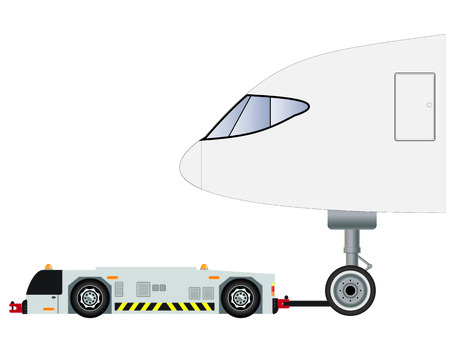 Airport tow truck  with passenger airplane vector and illustration Stock Vector - 117085080