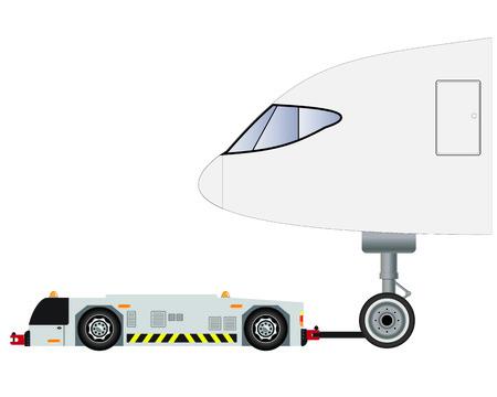 Flughafen-Abschleppwagen mit Passagierflugzeugvektor und -illustration Vektorgrafik