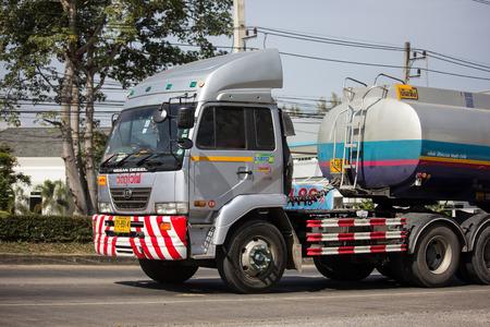 Chiangmai, Thailand - December 4 2018:  Private Oil Tank Truck . On road no.1001, 8 km from Chiangmai city. Editöryel
