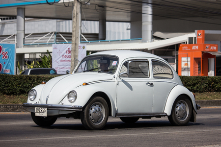 Chiangmai, Thailand - December 4 2018: Vintage Private Car, Volkswagen beetle. Photo at road no.1001 about 8 km from downtown Chiangmai, thailand.