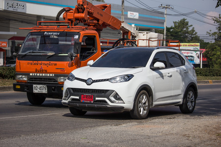 Chiangmai, Thailand - December 4 2018:  Private Suv Car MG GS. Product from British automotive. On road no.1001, 8 km from Chiangmai city. Sajtókép