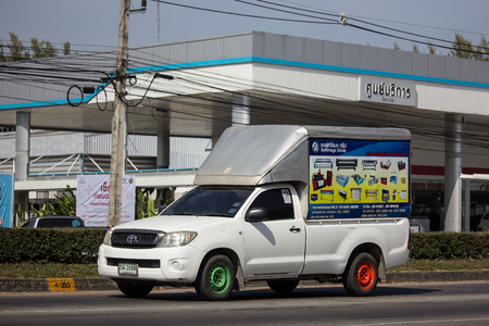 Chiangmai, Thailand - December 4 2018: Private Toyota Hilux  Pickup Truck.  On road no.1001 8 km from Chiangmai city.