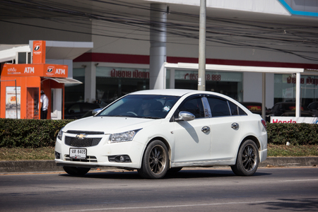 Chiangmai, Thailand - December 4 2018: Private car, Chevrolet Cruze. On road no.1001, 8 km from Chiangmai city.