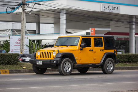 Chiangmai, Thailand - December 18 2018: Private jeep car, Wrangler Sport. Photo at road no.121 about 8 km from downtown Chiangmai, thailand.