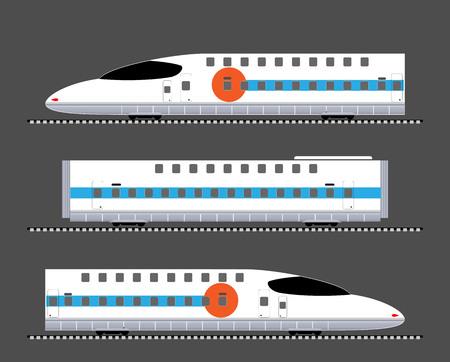 Conjunto de vector e ilustración de tren de alta velocidad de doble piso.