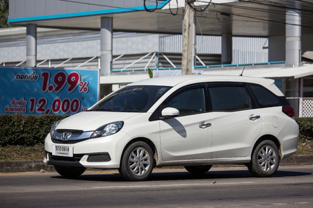 Chiangmai, Thailand - December 25 2018: Private Honda Mobilio van. Photo at road no.121 about 8 km from downtown Chiangmai, thailand. Editorial