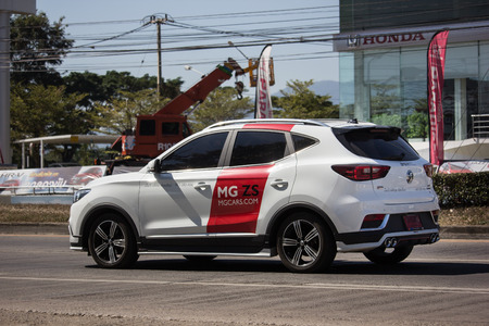 Chiangmai, Thailand - December 27 2018: Private Suv Car MG ZS. Product from British automotive. On road no.1001, 8 km from Chiangmai city.