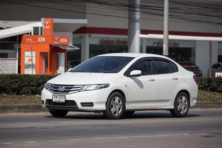 Chiangmai, Thailand - January 3 2019: Private  Honda City Compact car. Produced by the Japanese manufacturer Honda. Photo at road no.121 about 8 km from downtown Chiangmai, thailand. Editorial