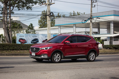 Chiangmai, Thailand - January 3 2019:  Private Suv Car MG ZS. Product from British automotive. On road no.1001, 8 km from Chiangmai city. Sajtókép