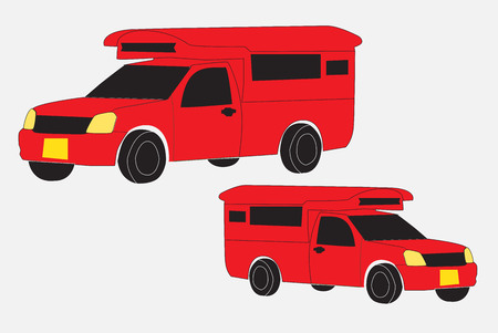 Red  Pick up Truck Taxi Chiang mai Vector on white background Illustration