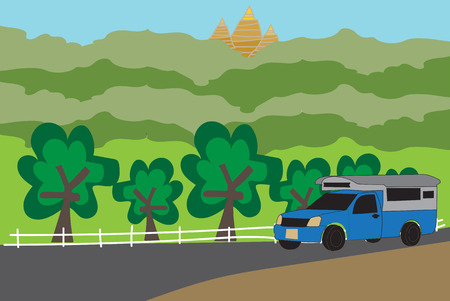Blue  Pick up Truck Taxi Nan with nature background  Vector Иллюстрация