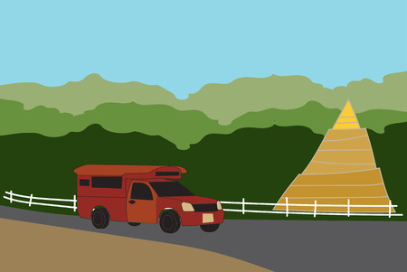 Red  Pick up Truck Taxi Chiang mai with nature and pagoda background Vector Illustration