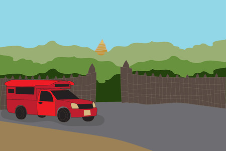 Red  Pick up Truck Taxi Chiang mai with nature and gate background Vector Illustration
