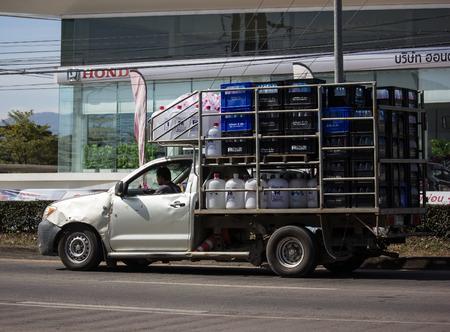 Chiangmai, Thailand - January 4 2019: Private Toyota Hilux Vigo  Pickup Truck.  On road no.1001 8 km from Chiangmai city.