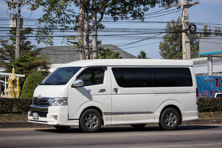 Chiangmai, Thailand - January 4 2019: Private Toyota Ventury van. On road no.1001, 8 km from Chiangmai Business Area.