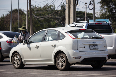 Chiangmai, Thailand - January 4 2019:  Private car, Ford Focus. Photo at road no 121 about 8 km from downtown Chiangmai, thailand.
