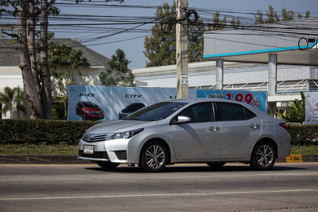 Chiangmai, Thailand - January 14 2019:  Private car, Toyota Corolla Altis. Eleventh generation. On road no.1001, 8 km from Chiangmai city. 에디토리얼