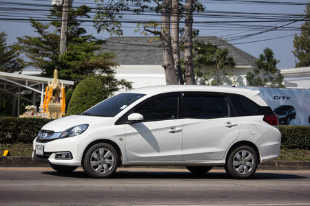 Chiangmai, Thailand - January 14 2019: Private Honda Mobilio van. Photo at road no.121 about 8 km from downtown Chiangmai, thailand.