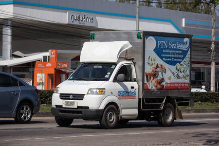 Chiangmai, Thailand - January 14 2019: Container truck of PTN Seafood Logistics Transportation company. Photo at road no.121 about 8 km from downtown Chiangmai thailand. 에디토리얼