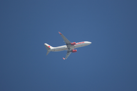 Chiangmai, Thailand - February 4 2019: HS-LUK Boeing 737-800 of Thai lion Air airline. Take off from Chiangmai airport to Bangkok.