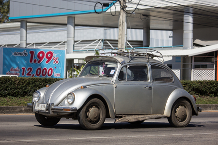 Chiangmai, Thailand - January 16 2019:  Vintage Private Car, Volkswagen beetle. Photo at road no.1001 about 8 km from downtown Chiangmai, thailand. Editorial