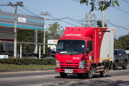 Chiangmai, Thailand - January 16 2019: Truck of Thailand Post. Photo at road no.121 about 8 km from downtown Chiangmai, thailand. Editorial