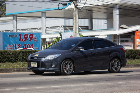 Chiangmai, Thailand - January 14 2019: Private car, Ford Focus. Photo at road no 121 about 8 km from downtown Chiangmai, thailand. Redactioneel