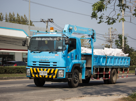 Chiangmai, Thailand - January 22 2019: Truck of PROVINCIAL WATERWORKS AUTHORITY. On road no.1001, 8 km from Chiangmai city.