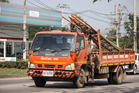 Chiangmai, Thailand - January 18 2019: Truck of Tot company.Intenet and Telephone Service in Thailand. Photo at road no.121 about 8 km from downtown Chiangmai, thailand.