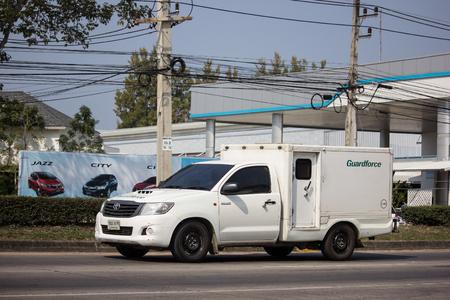Chiangmai, Thailand - January 22 2019: Money delivery Pickup of Guardforce Company.  On road no.1001, 8 km from Chiangmai city.