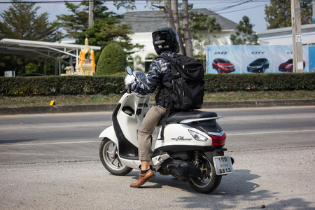Chiangmai, Thailand - January 22 2019: Private Automatic Scooter Yamaha Filano Motorcycle. On road no.1001, 8 km from Chiangmai Business Area. Editorial